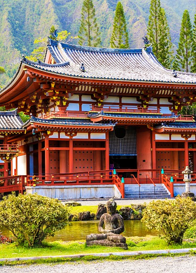 Red Japanese Buddist Temple in Hawaii photo