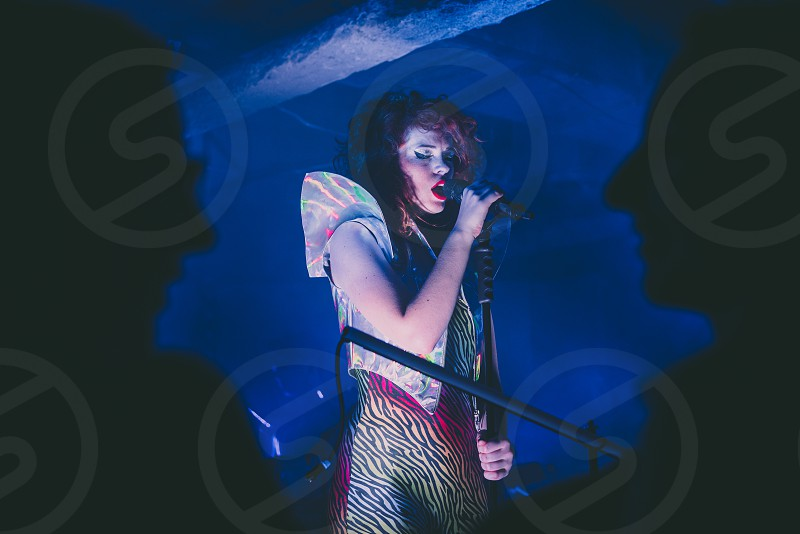 Band performing live in a club. Mydy Rabycad.  photo
