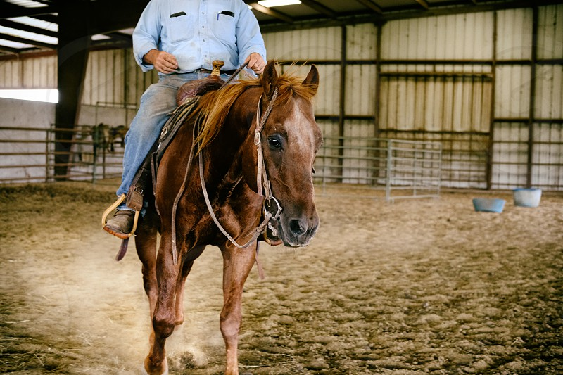 Western riding on horse in arena. photo
