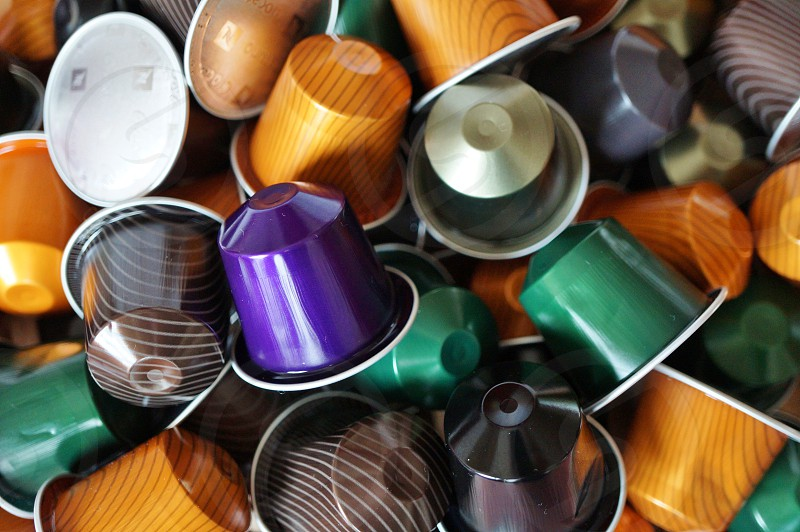 Colorful disposable coffee pod capsules photo