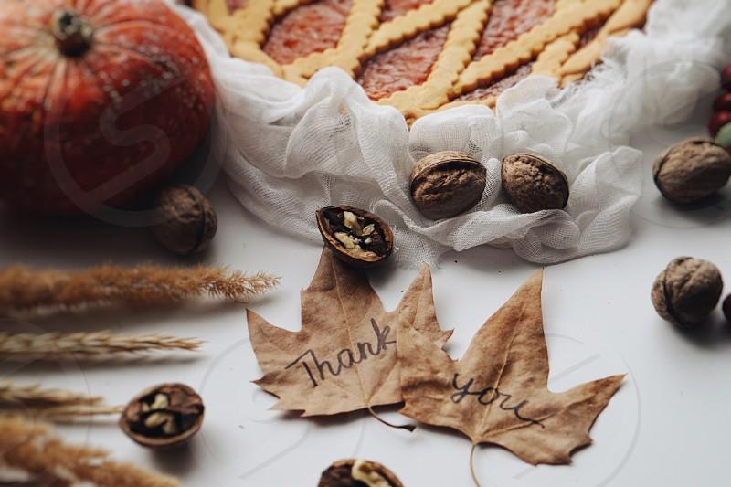 Thanks thanksgiving happy thanksgiving celebration thankful pie pumpkin pumpkin pie festive dinner autumn leaves autumn autumn food food flatlay  photo