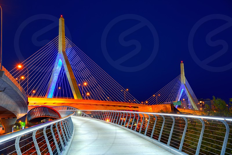 Boston Zakim bridge sunset in Bunker Hill Massachusetts USA photo