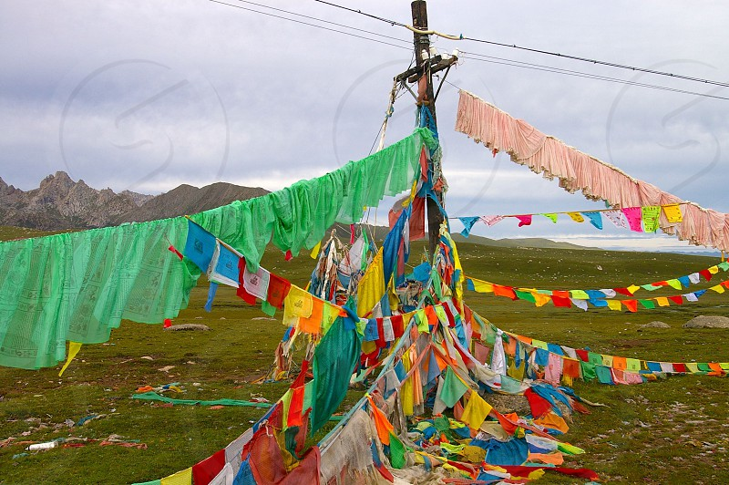 Prayer flags in Tibet photo