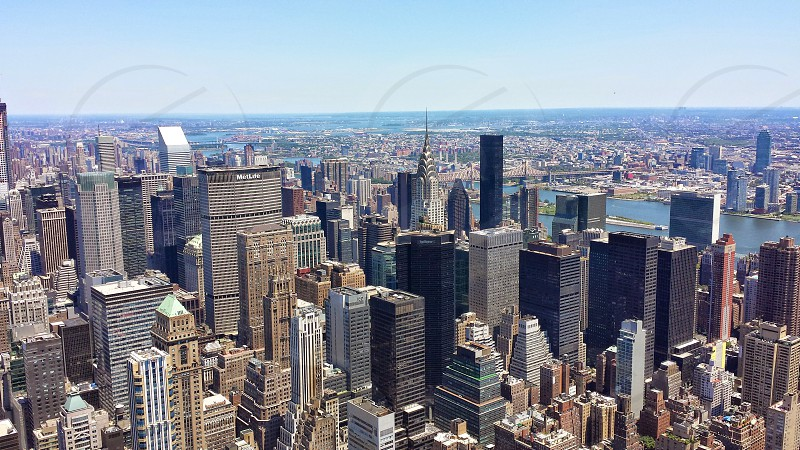 View from a top the Empire State Building with the Chrysler Building. photo