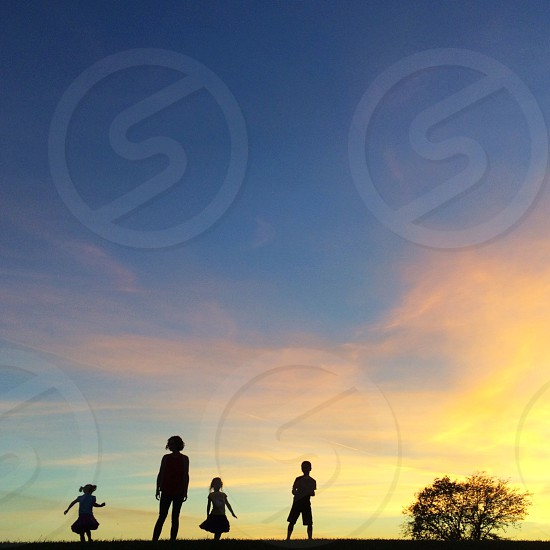 Sky family sunset clouds silhouette photo