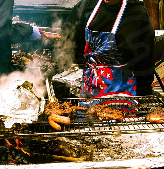 Street food cooking barbecue food party tasty photo