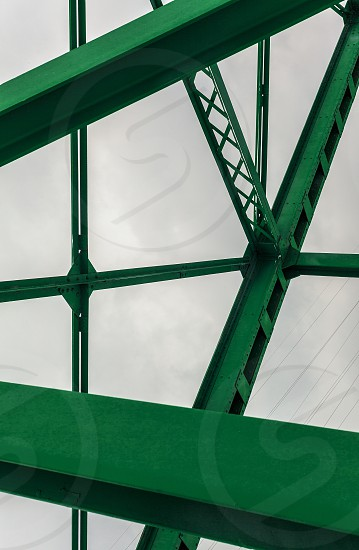 Abstract composition of an old bridge details of construction elements. photo