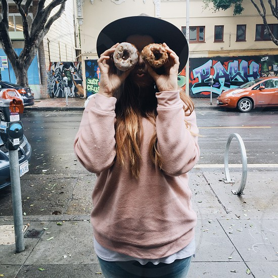 Donut  Girl Hat Fashion Street Art  Food City photo