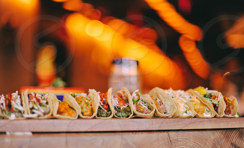 selection of tacos on a board photo