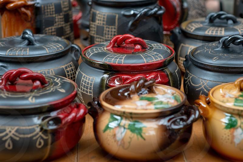 Handmade Latvian National Ceramics. Close-up photograph. photo