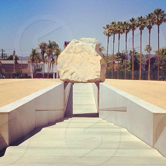 white stone on stairway photo