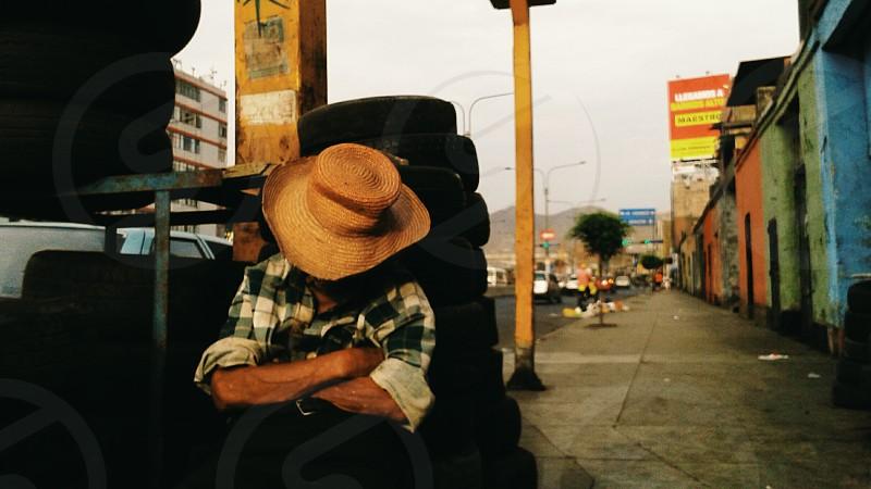 Used tires street vendor. photo