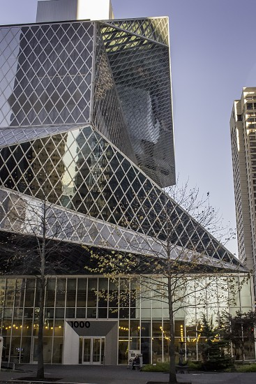 Seattle downtown public library architecture glass a-frame entry  photo
