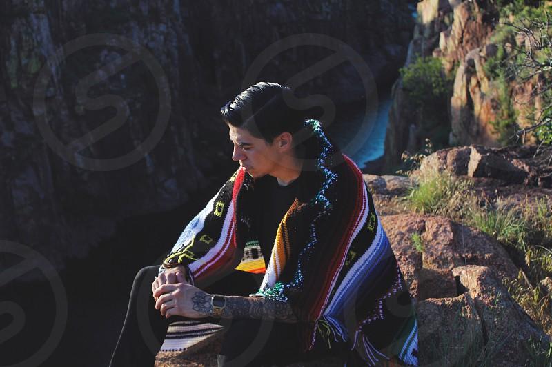 Selfie hike outdoors Navajo history canyon bluff people heritage waterfalls  photo