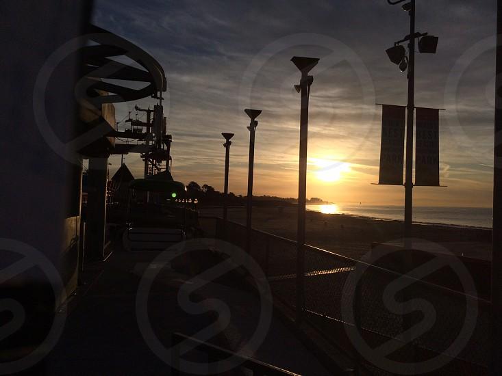 Amusement park sunset photo