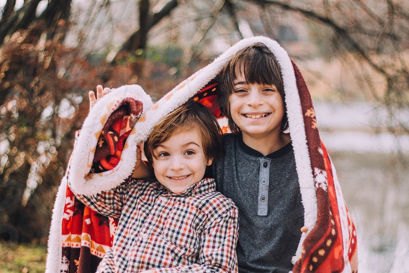 Christmas winter Brothers blanket cold photo