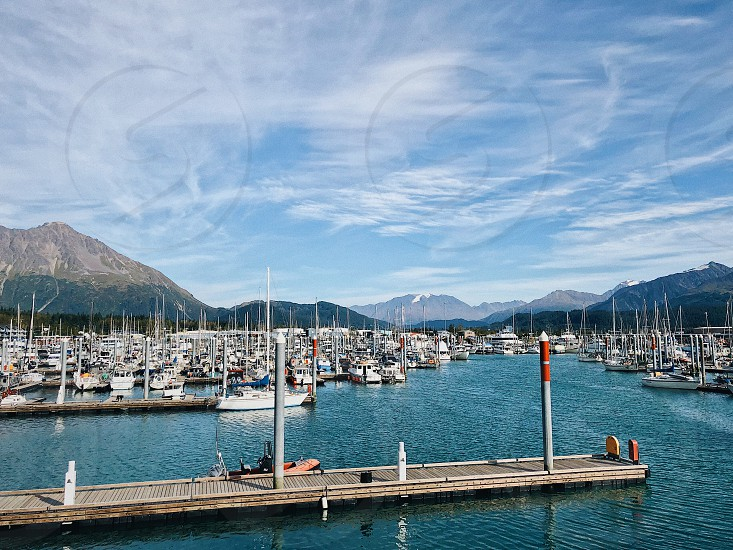 Alaska Homer boats ships marina harbor mountains bay photo