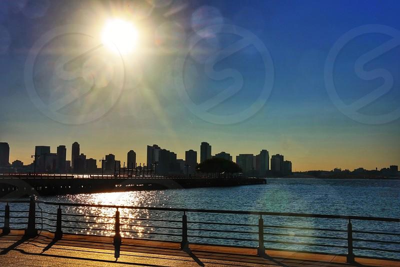 Sunset over Hudson riverNew YorkNew JerseyskylineUSA photo