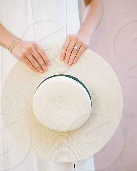 Hat woman hands ring pastel beach summer happy geometric round circle hold holding grasp pink neutral photo