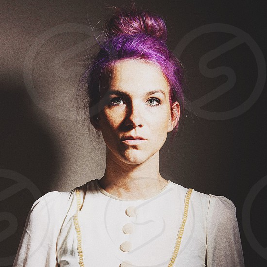purple haired woman in white dress photo