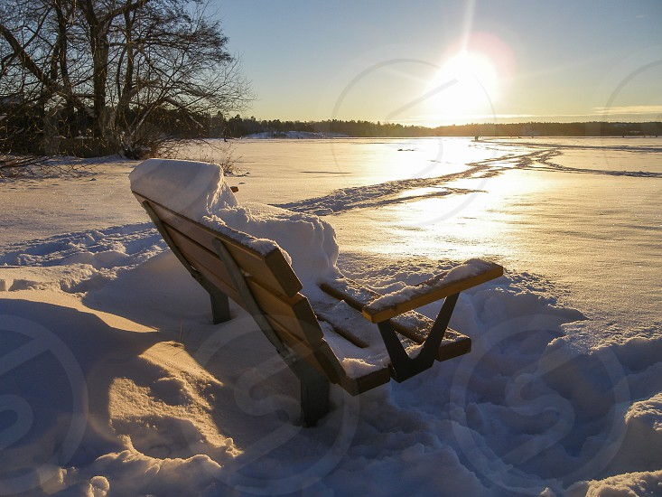 snow covered bench in sunrise photo