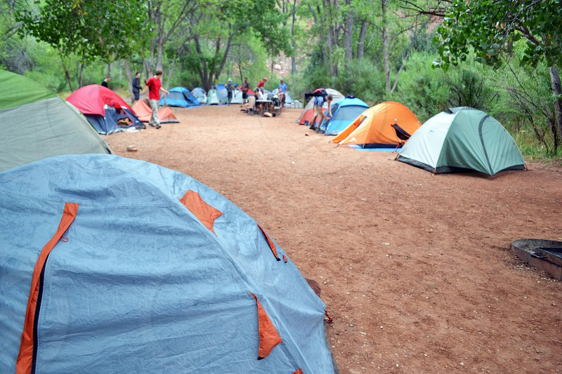 group of people surrounded by dome tents in middle of green forest during daytime photo