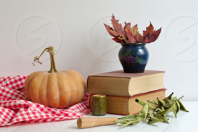 Pumpkin on a tableclothes - books and vase with autumn leaves next to it photo