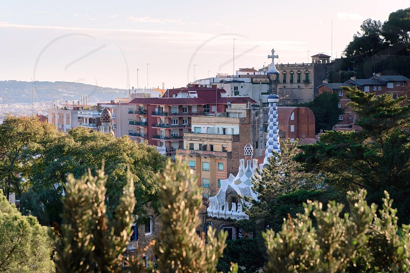 Sunny day in Park Guell Barcelona Spain photo