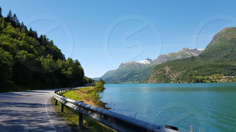 Driving along the beautiful fjords of Norway photo