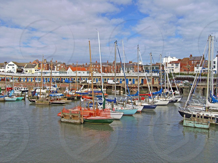 UK. ENGLAND. Bridlington North Yorkshire.  Boats in the harbour.              photo