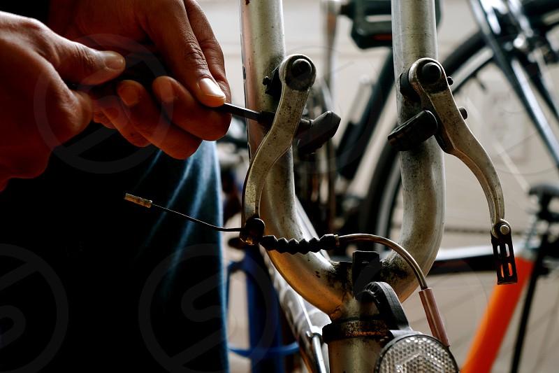 grey bicycle photo