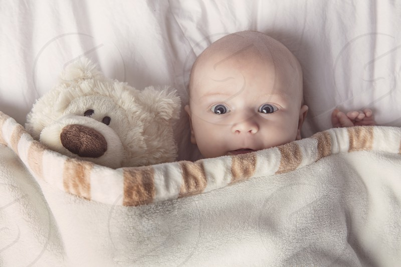 Baby morning stuffed animal morning routine photo