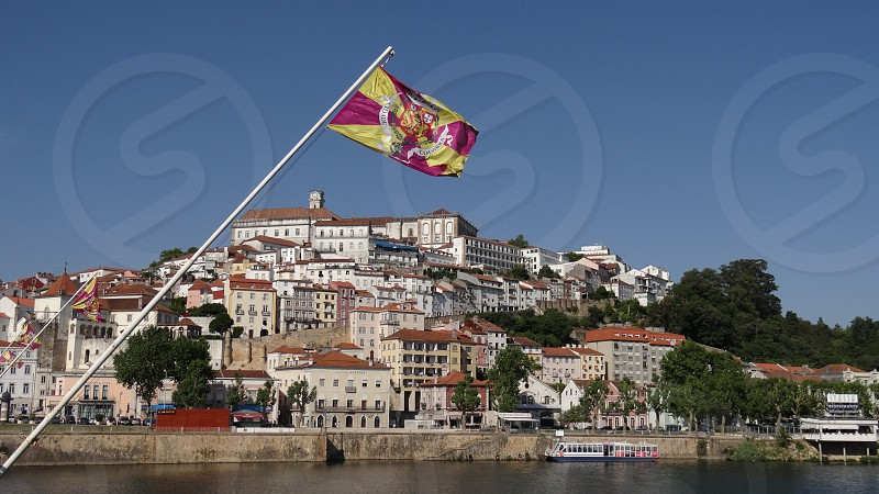 Flag from Coimbra city in Coimbra Portugal photo