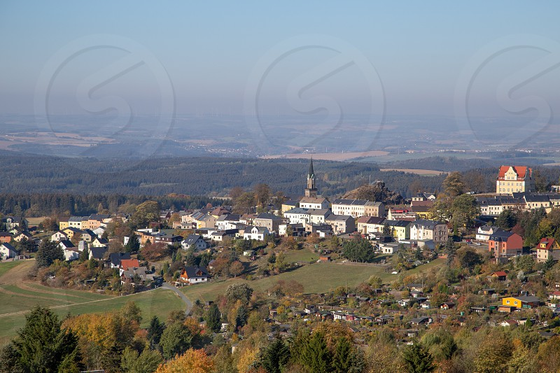 the city of Schöneck in the Vogtland on a hazy day photo