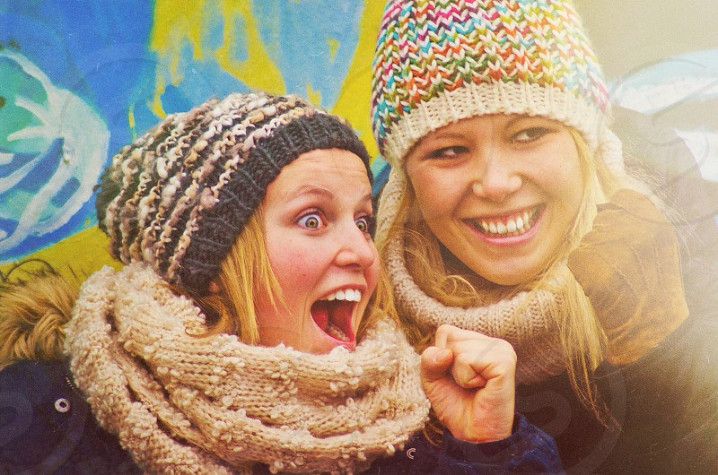 two woman smiling photo