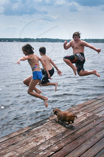 Children jumping off dock into Lake with dog chasing them photo