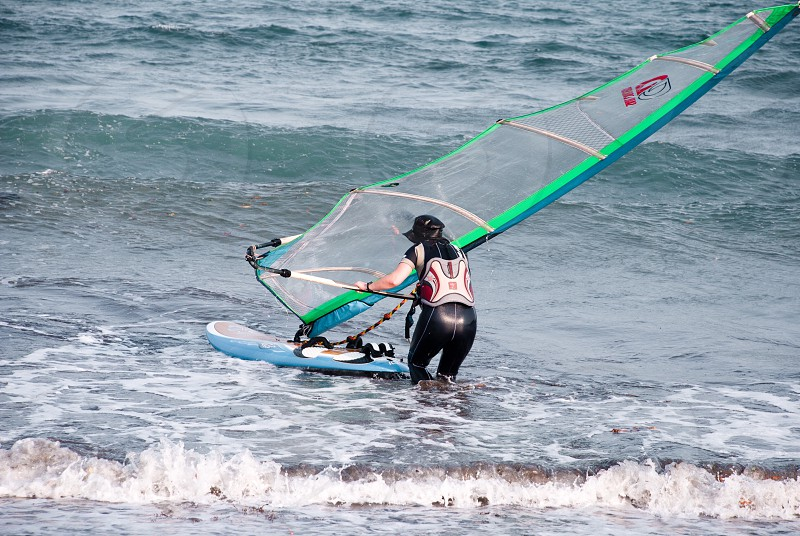 Sports candid outdoor windsurfing water photo