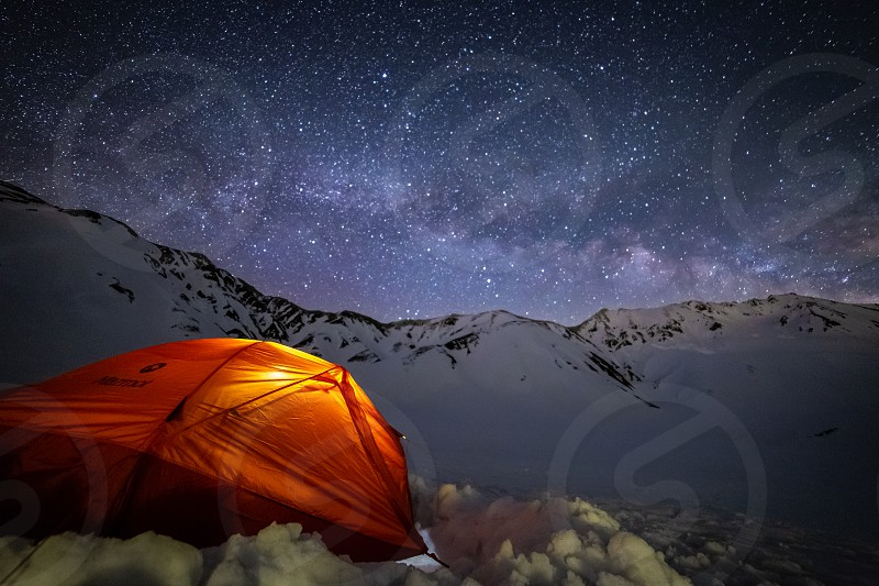 Camping at 2500 meters under the Milky Way on Mount Tate one of Japan's three holy mountains photo