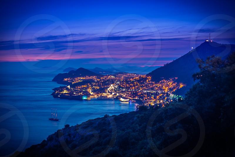 Dubrovnik Old Town Srđ dusk sea photo
