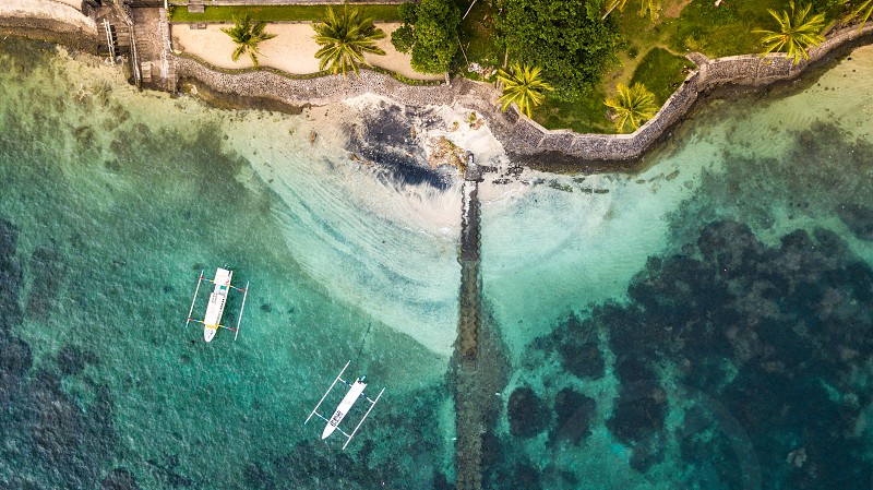 Aerial view from Bali. It's a private beach of a hotel in Blue Lagoon Beach. photo