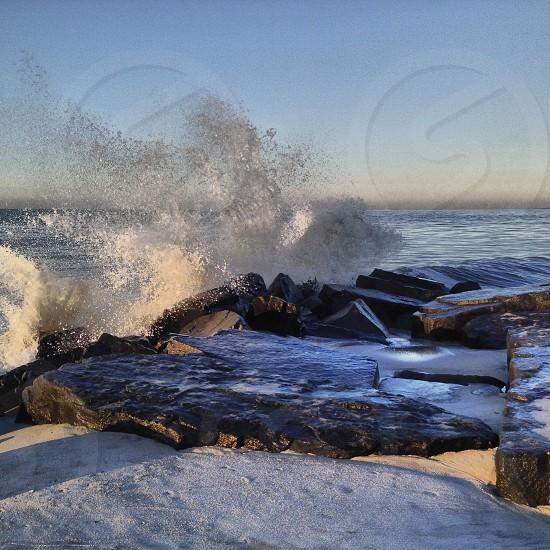Crashing waves at the Cove Cape May NJ photo
