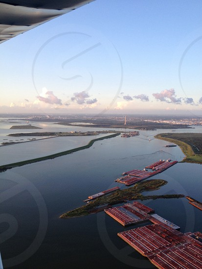 Aerial view of Houston Ship Channel.  photo