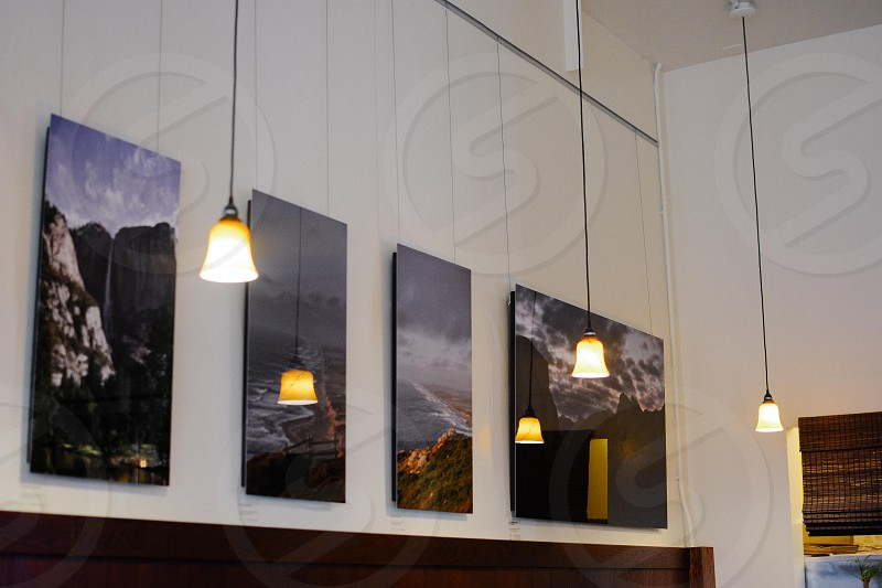white and black pendant lamp near 4 panel painting of mountain ranges near body of water photo