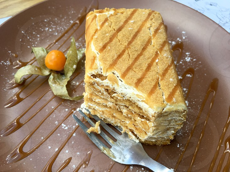 Food cake honey caramel sweet dessert fork photo