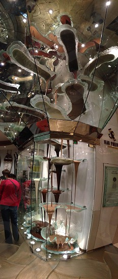 Worlds largest chocolate fountain Las Vegas NV. White medium and dark confectionary grade chocolate. Chocolate raises 27 vertical feet from lower pump room.  photo