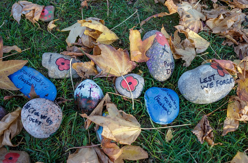 Special decorated stones to Commemorate the ending of the First World War photo