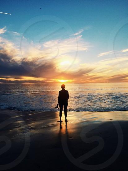 man's silhouette photo