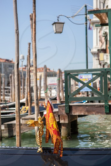 Gangway in Venice. Pier on San Marco Canal and view on San Giorgio Maggiore Venice Italy. photo
