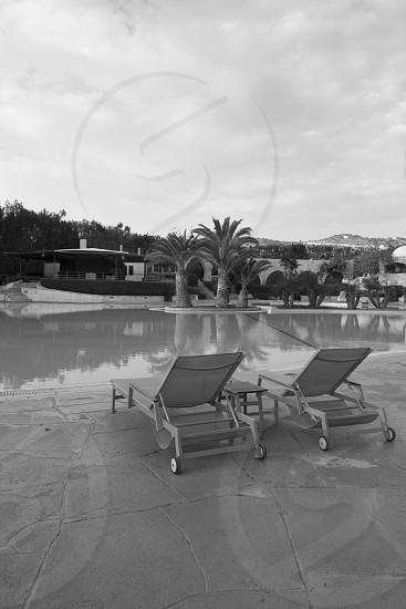 beige pool chair  photo