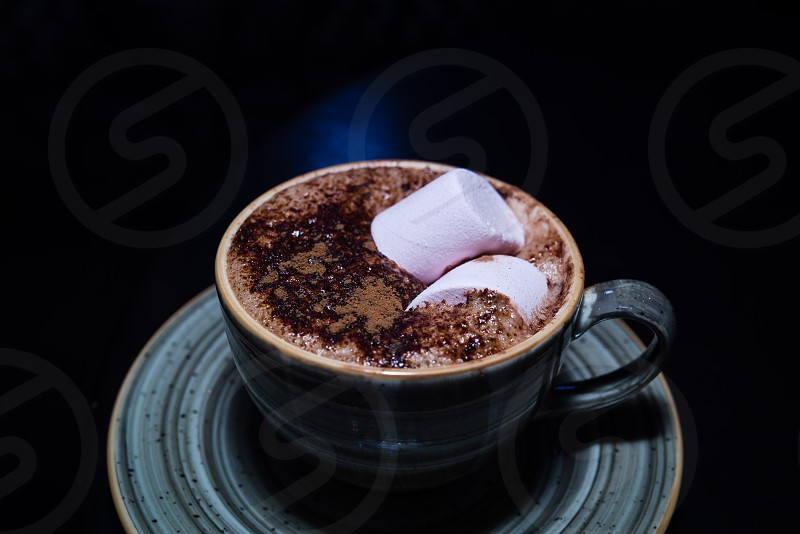Marshmallows on Hot Chocolate Ready for snack photo